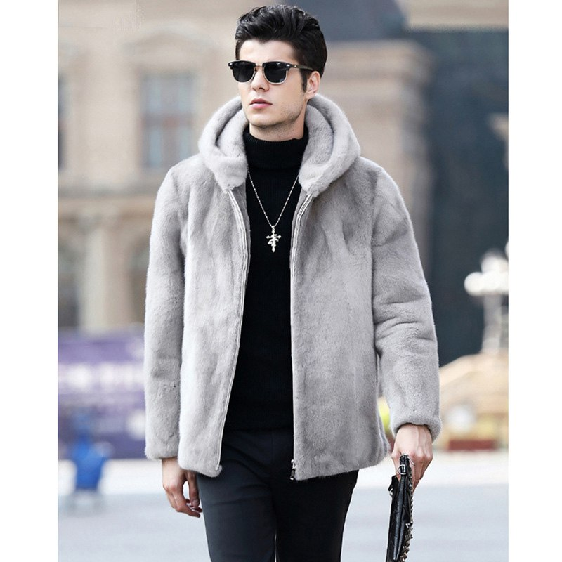 03673a2799f9 2019 New Men s Winter Faux Fur Jacket Gray Artificial Mink Fur Coat ...