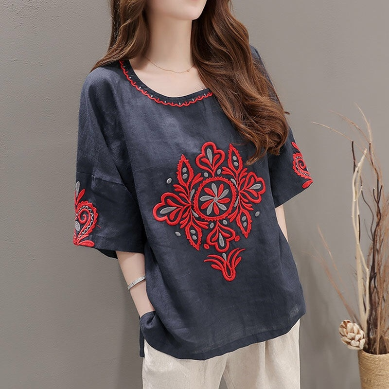 Ethnic Embroidery Summer Clothing Short Sleeve T-shirt Female Casual Shirts  Women Clothes Top Tee Linen Cotton Tops Plus Size