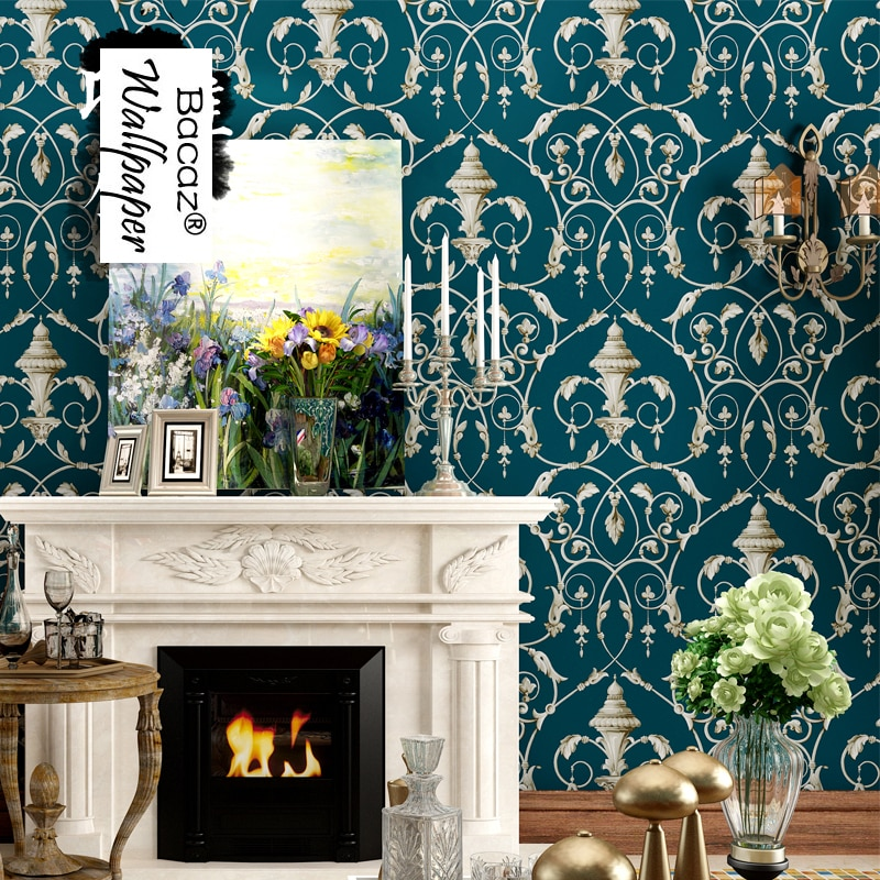 Waliicorners American Style Vintage Non Woven 3d Wall Murals Wallpaper Rolls For Tv Background Crochet Flower 3d Wall Paper For Liviing Room Waliicorner S Store