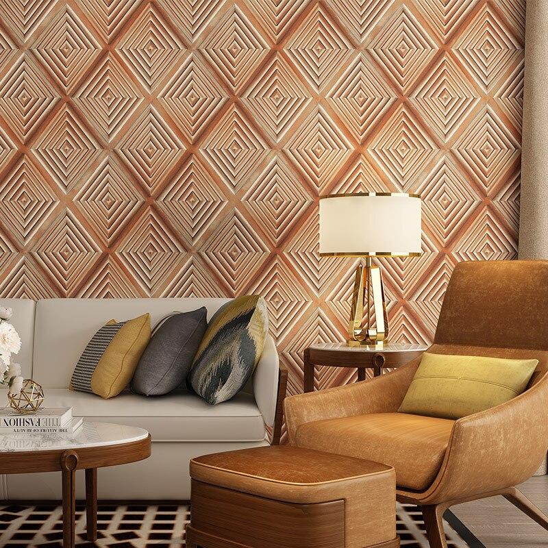 Black 3d Lattice Wallpaper Home Living Room Decor Yellow Bedroom Dining Room Background Wallpaper Soft Wrapped Wall Paper