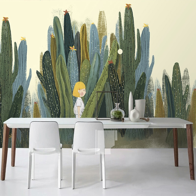 Custom 3d Wall Murals Wallpaper Hand Painted Cactus Plant Photo Wall Paper For Living Room Bedroom Backdrop Papel De Parede 3d