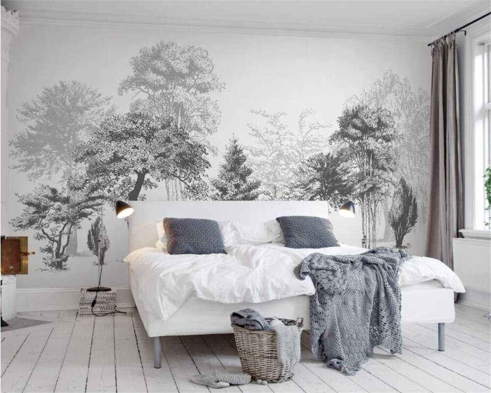 Custom Wallpaper House Decorative Mural Black And White Trees Sofa Tv Background Murals 3d Wallpaper Papel De Parede