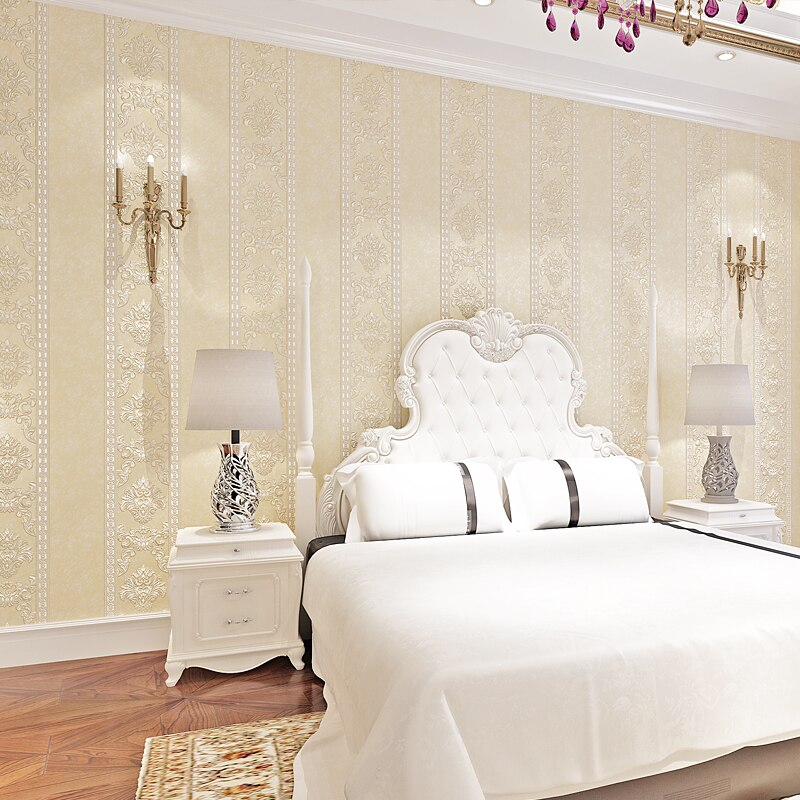Luxury 3d Embossed European Style Stripe Damask Wallpaper For Bedroom Walls Living Room Tv Background Home Decor Wall Paper Roll