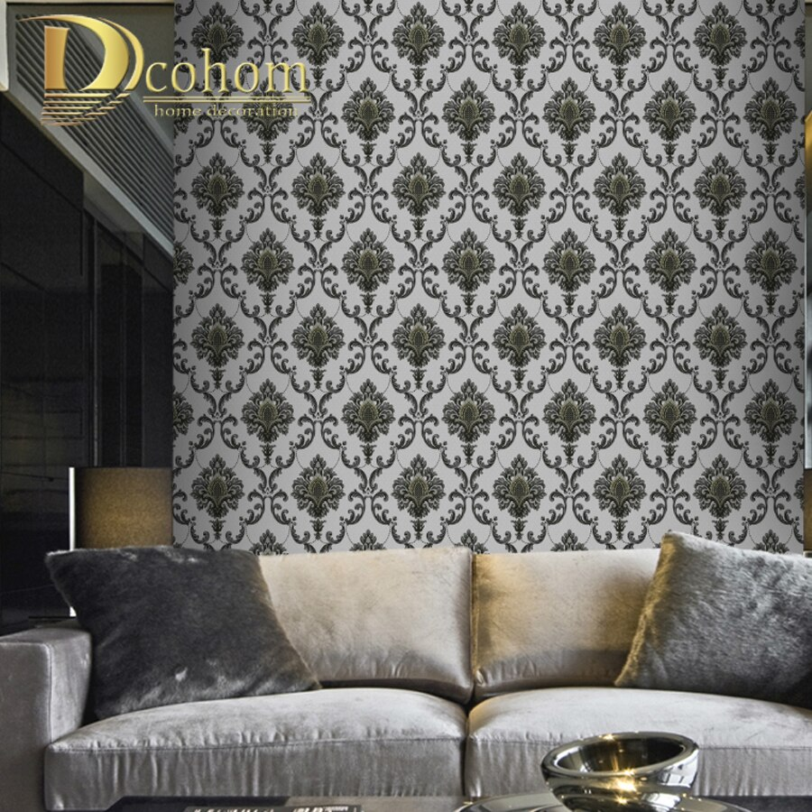 Waterproof 3d European Large Floral Damask Wallpaper For Walls