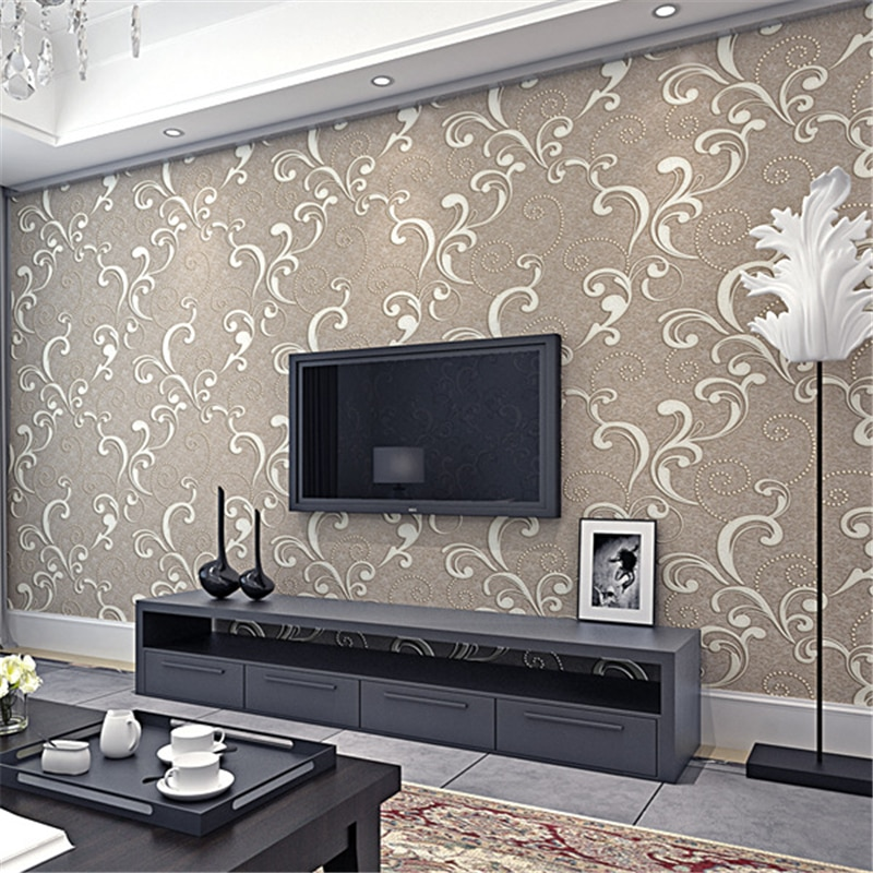 European Luxury Modern Simple Embossed Continental Large Nonwovens Wallpaper Living Room Background Wall Tv Wallpaper Bedroom Tapety