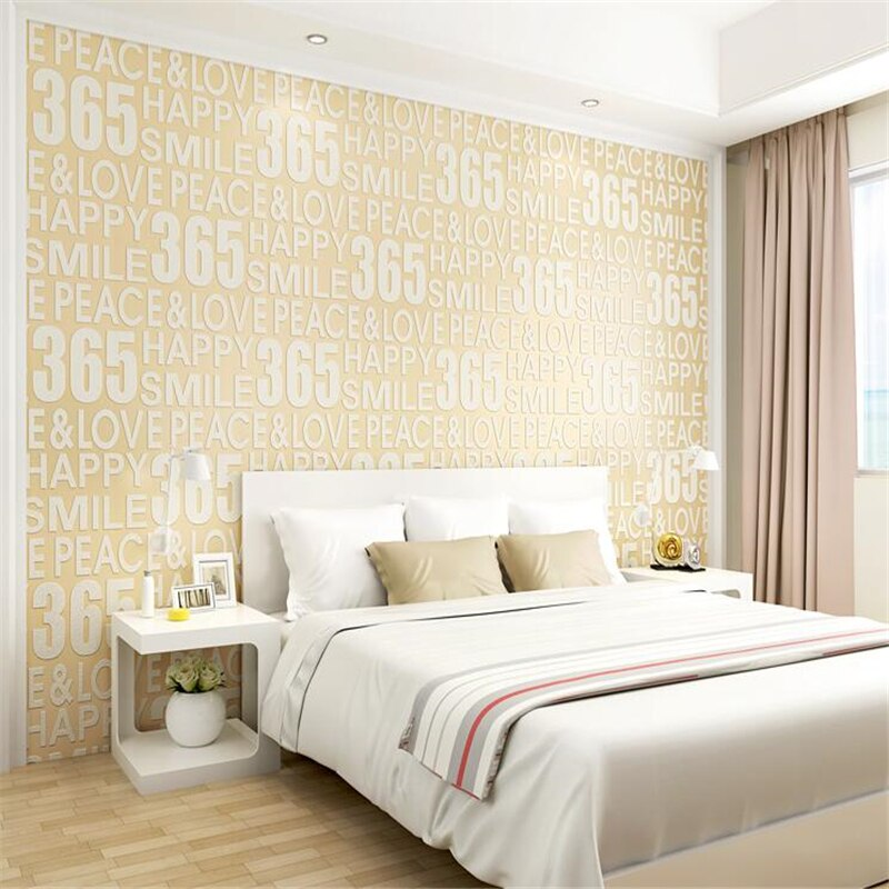 European Luxury Simple Modern Personality English Alphabet Wallpaper 3d Thick Padded Deer Skin Living Room Sofa Background Wall Paper