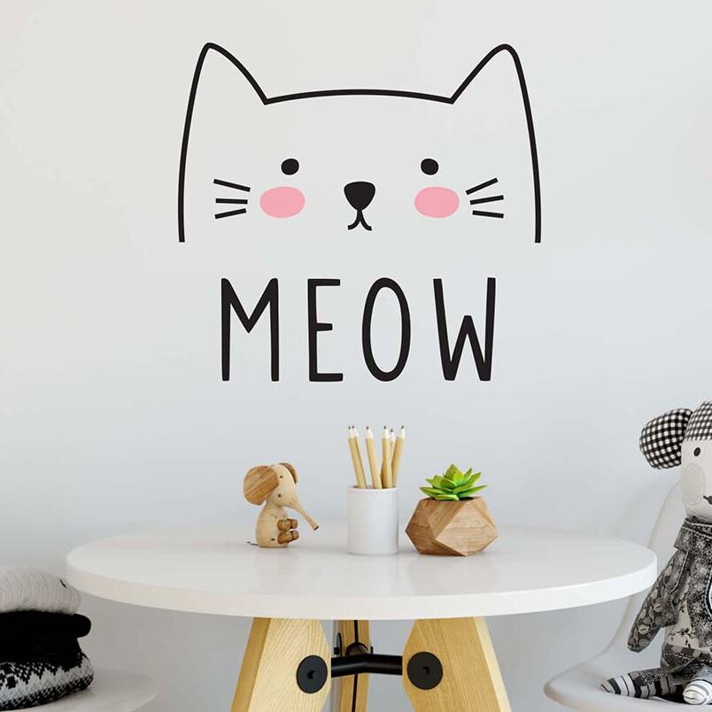 Cute Cat Decal Wall Sticker Animal Wall Decor Removable Vinyl Sticker Cat  Wall Mural Sticker Bedroom Kids Bedroom Decor AY0139