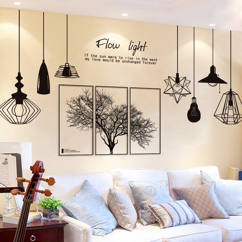 Black Tree Wall Stickers Diy Nordic Style Chandelier Mural Decals For Living Room Bedroom Restaurant Decoration
