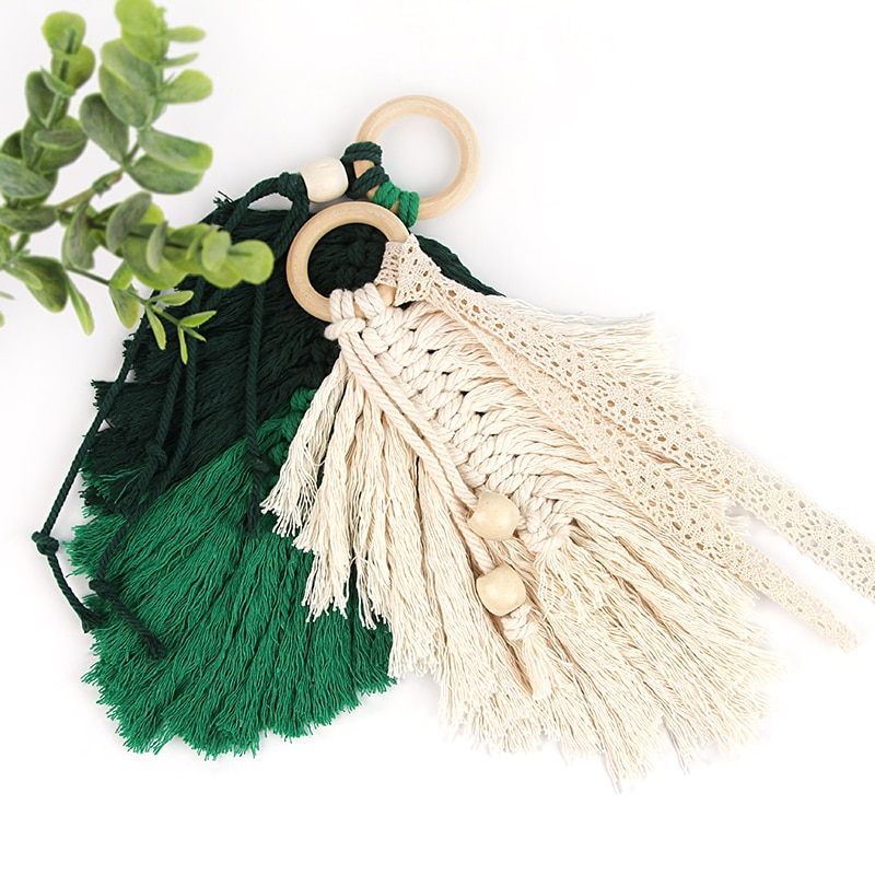 Macrame Wall Hanging Decoration-Feather Boho Handmade Woven Leaf Tassels Decoration Cotton Ornaments with Wooden Beads-Home Living Room Bedroom Decor