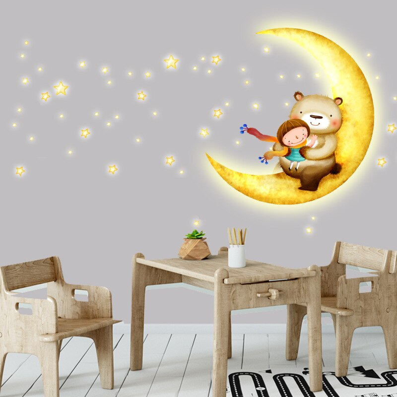 Waliicorners Cartoon Moon Girl Kids Rooms Home Decor Vinyl Wall Stickers Baby Bedroom Wall Decals Poster Mural Waliicorner S Store