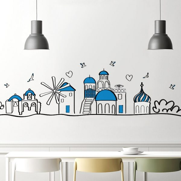 Mediterranean Buildings Wall Stickers DIY Cartoon Baseboard Stickers for  Living Room Kids Bedroom Decoration