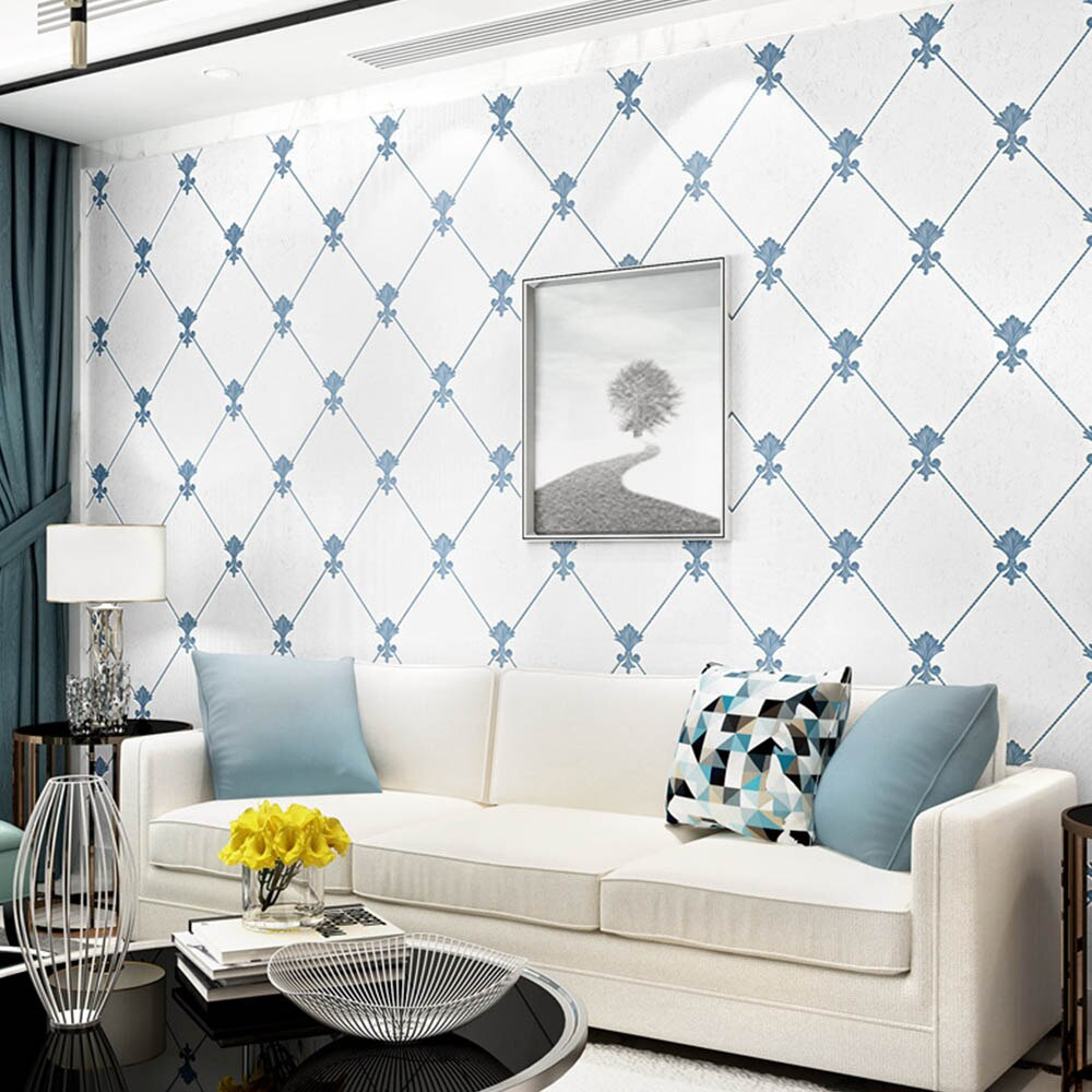 Waliicorners 0 53m X 9 5m Blue White Rhombus Simple Modern Wall Paper Roll Living Room Background Non Woven Wallpaper For Hotel Bedroom Waliicorner S Store