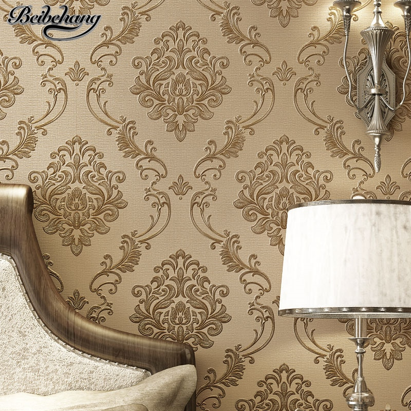 Luxury Continental Damascus Carved Nonwoven Wallpaper Living Room Wall Restaurant Wallpaper Papier Peint