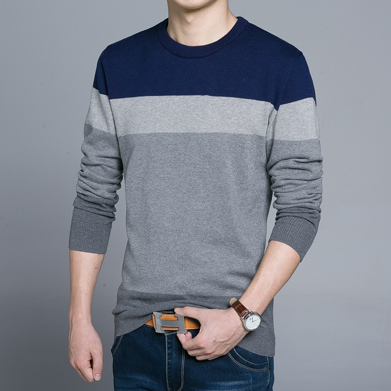 For What Reason Sweater Men Striped Print Casual O-Neck Pullover 2019 Autumn Winter Thin Sweaters Plus Size Pull
