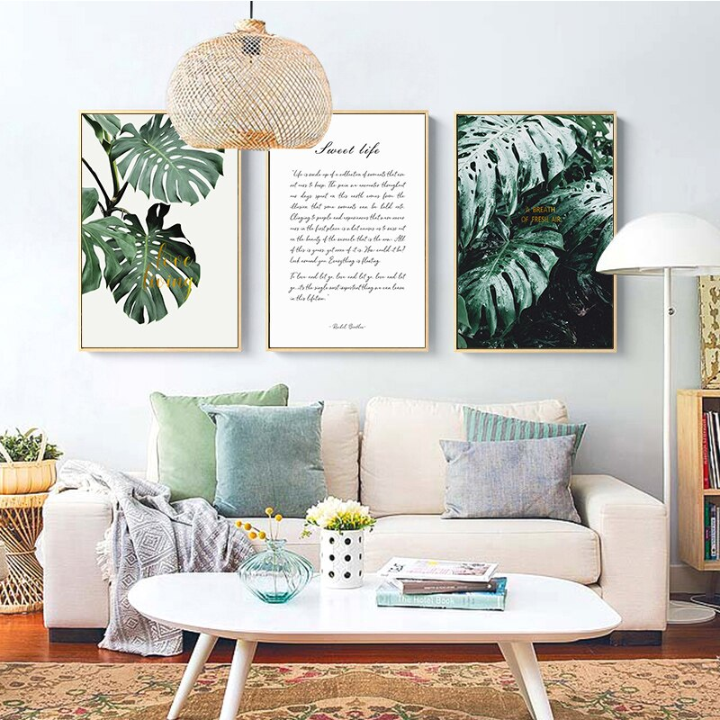 Turtle Leaves Canvas Painting Green Plant Nordic Poster Picture Posters  Living Room Wall Art Pictures Prints Home Decor Unframed