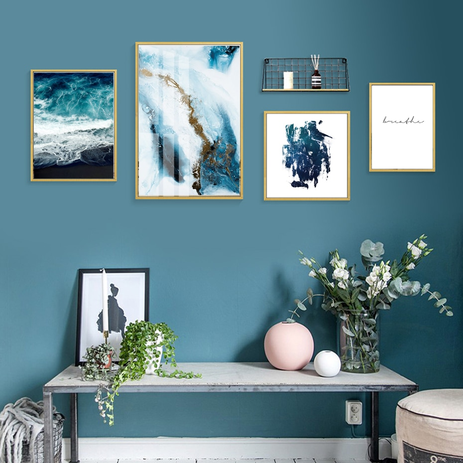 Blue Quote Prints Poster Nordic Canvas