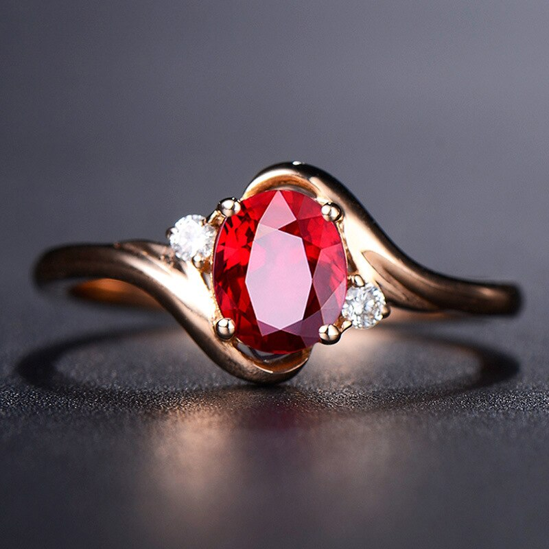 Waliicorners 6 8mm Red Oval Zircon Wedding Rings For Women Simple And Elegant Top Quality Rose Gold Color Engagement Party Jewelry Waliicorner S Store