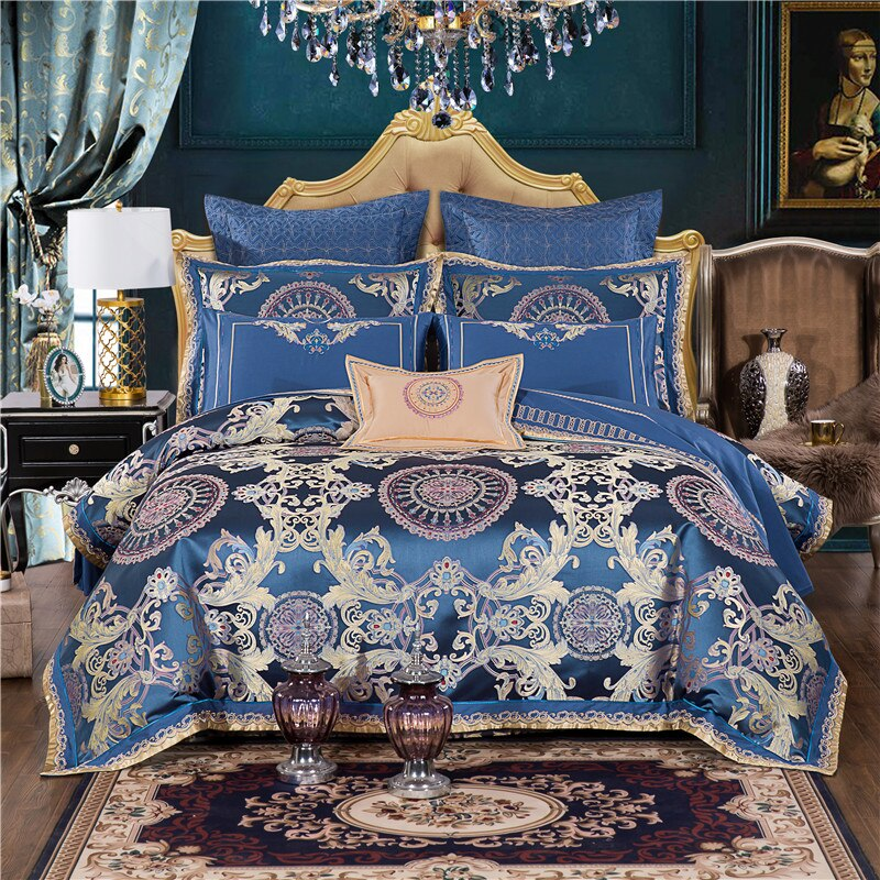 Waliicorners Blue Satin Jacquard Luxury Bedding Set Queen King Size Bed Set Duvet Cover Bed Flat Sheet Bed Spread Set Pillowcase Funda Cama Waliicorner S Store