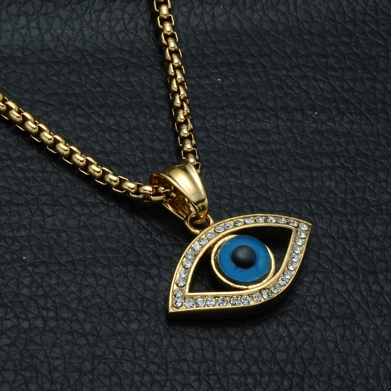 Stainless Steel Bling Iced Out Evil Eye